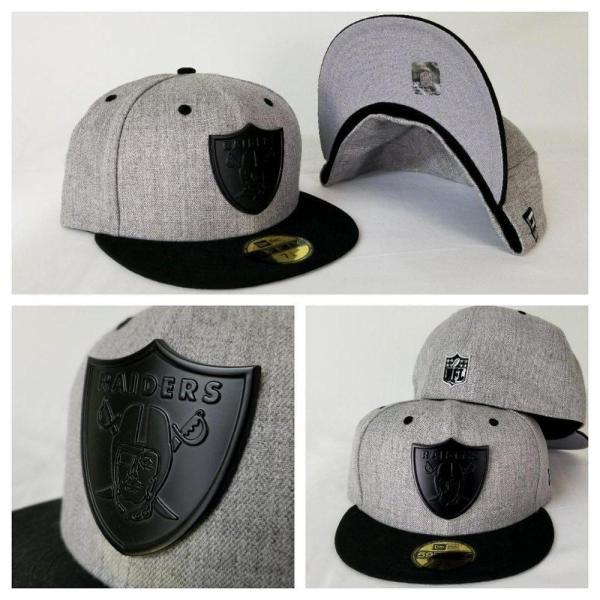 bd379870b27 Exclusive New Era Heather Grey  Black Oakland Raiders Black Metal Logo  Fitted Hat
