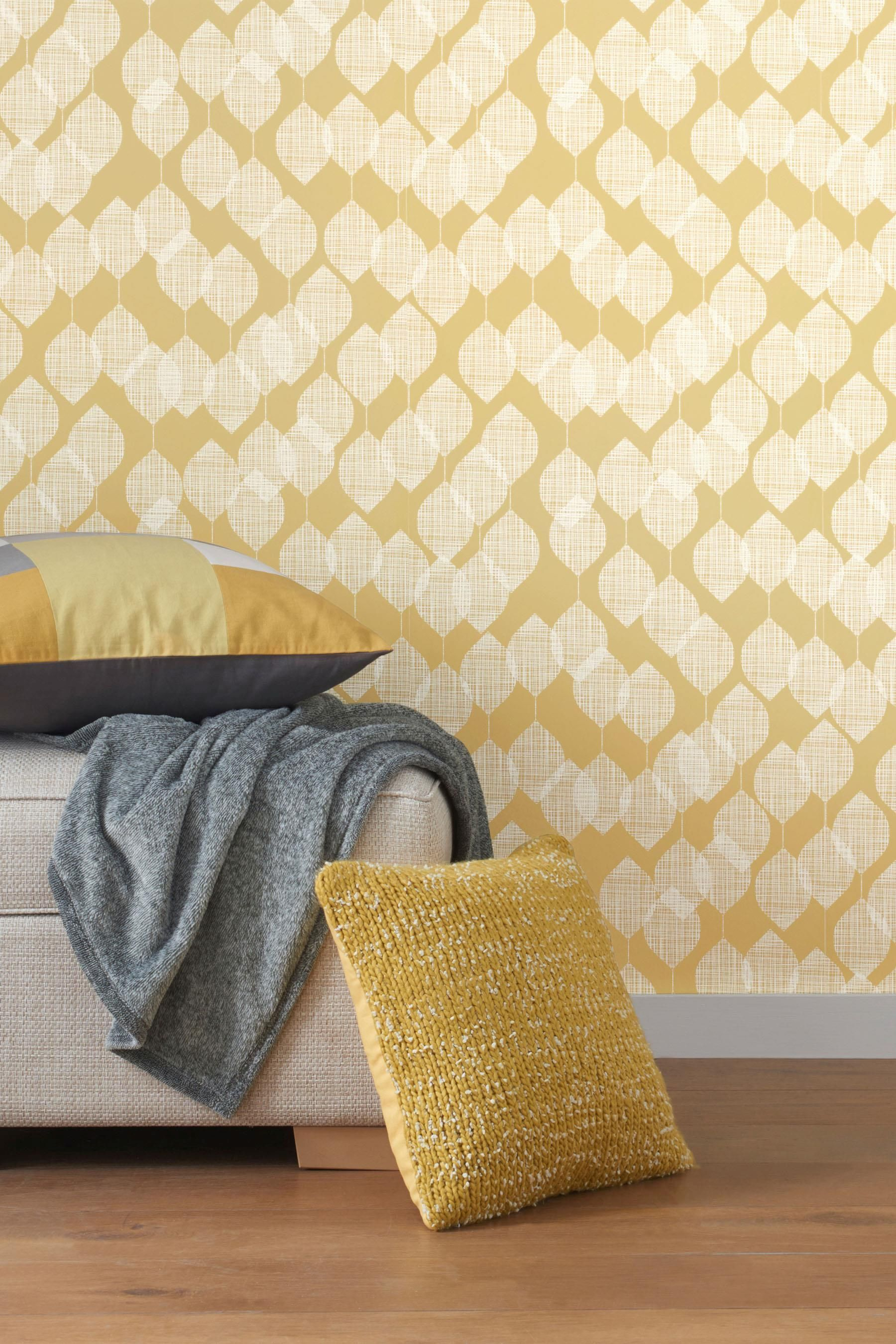Buy Paste The Wall Ochre Leaf Wallpaper from the Next UK online shop ...