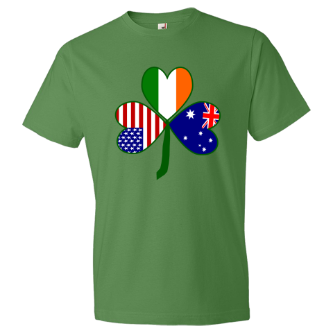 Fun design for St. Patrick's Day or any special holiday you wish to share love and pride in all of your ancestries, cultures and heritages. Image shows a green shamrock with heart shaped flags of Australia, Ireland and the United States of America in the leaves. $27.99 ink.flagnation.com