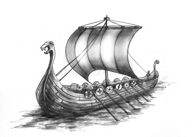 Viking Ship 2 Drakkar Ancient Viking Ship With 14 Oars Under