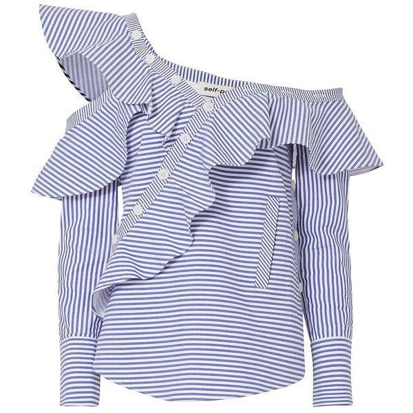 20514ab4c49cba Self-Portrait Women's Pinstriped Poplin Asymmetrical Ruffle Shirt (£320) ❤  liked on Polyvore featuring tops, stripe, long-sleeve shirt, striped long  sleeve ...