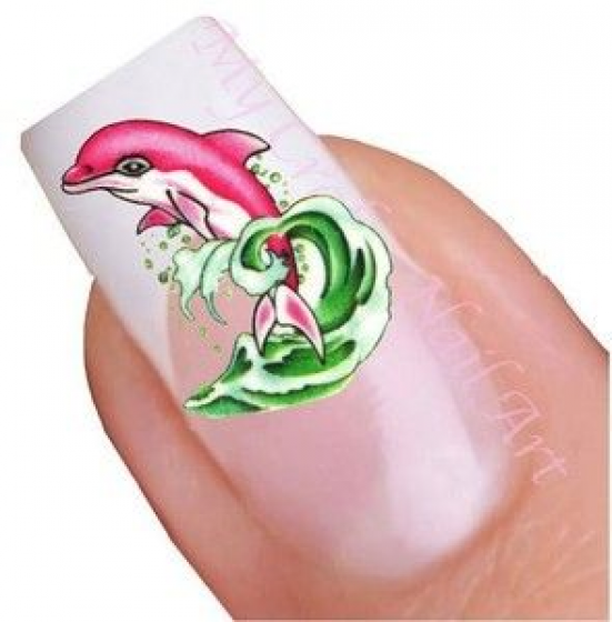 Blue Pink Dolphin Nail Stickers Water Decals Tatoos Transfers 01 03 042 Pedicure Pedicure Playa In 2020 Dolphin Nails Water Nail Art Nail Stickers