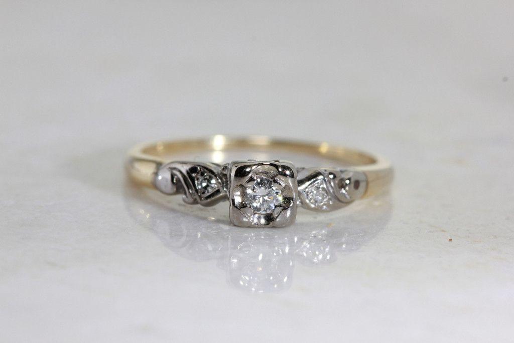 Antique 1940 S Vintage Engagement Ring 14k White Yellow Gold Diamond Ring Illusion Setting Vintage Engagement Rings Unique Vintage Engagement Rings Morganite Engagement Ring
