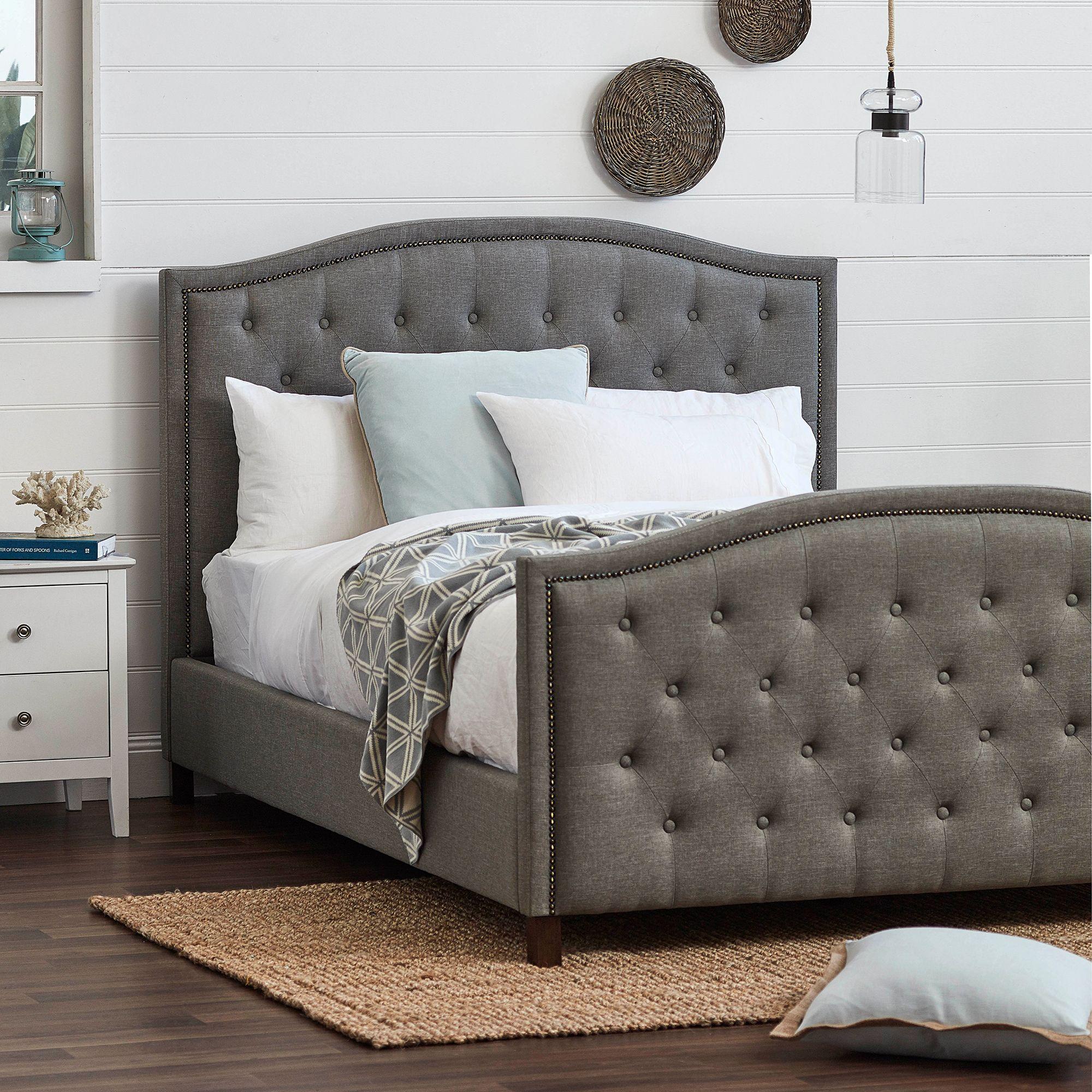 Light Grey Luxury Aurora Queen Bed Frame Queen Beds Bedroom