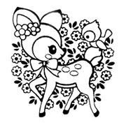 Cute Deer Stamp With Bird Flowers Kawaii Japan Cute Coloring Pages Disney Coloring Pages Animal Coloring Books