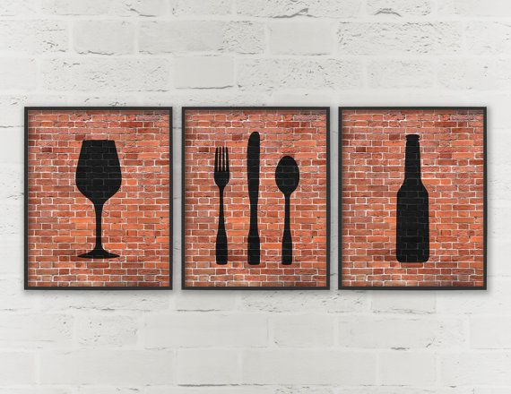 Kitchen prints beer wine fork knife spoon art dining for Wine and dine wall art