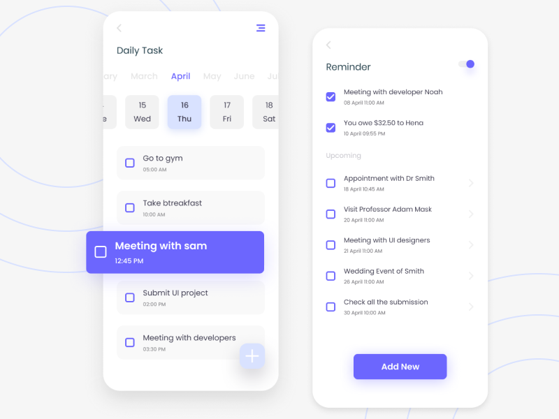Dribbble schedule_application.png by Jack W. in 2020