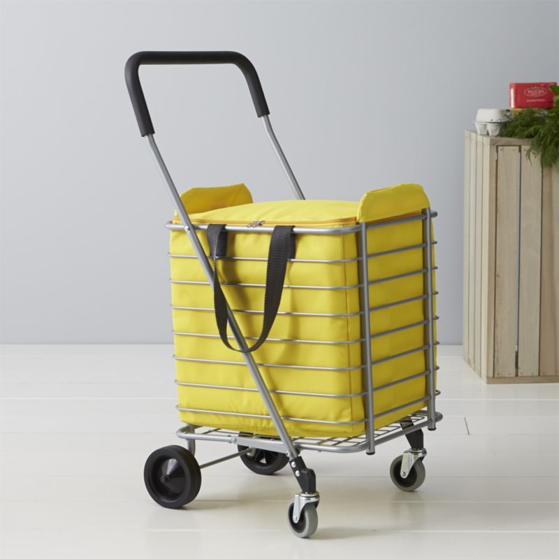 Polder Folding Shopping Cart With Insulated Yellow Liner Folding Shopping Cart Shopping Cart Crate And Barrel