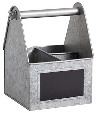 Galvanized Metal Small Cooks Caddy Industrialtabletop Bistro - Table top caddies for restaurants