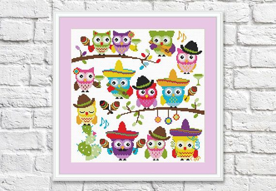 Cinco De Mayo Owls Cross Stitch Pattern Cool Cross Stitch Sampler Simple Cool Cross Stitch Patterns