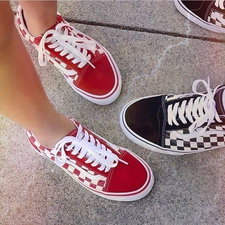 Custom Sneaker By 90offthewall Vans Shoes Red Checkered Vans Red Vans Outfit
