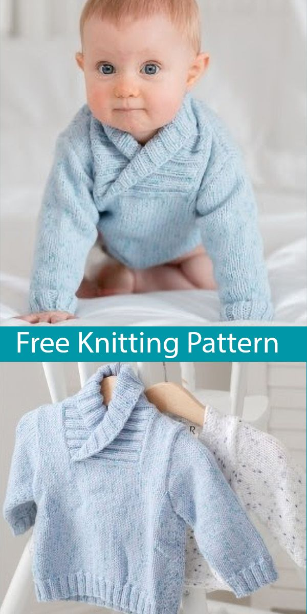 Free Knitting Pattern for Baby and Child Sweater with Shawl Collar Sizes Newborn to 7 Years