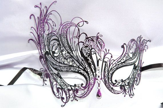 Silver White Gold Purple Black Swan Masquerade Mask with Sparkling Crystals…