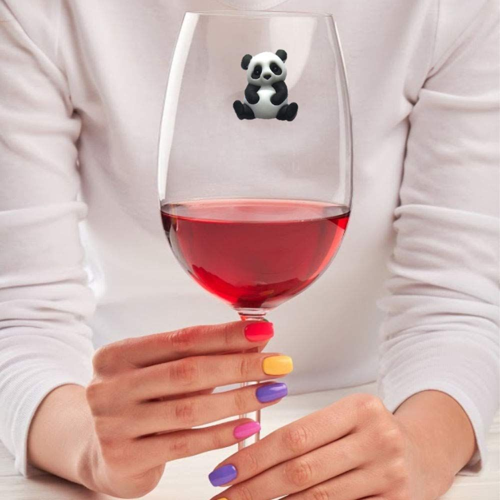 Panda Wine Charms Magnetic Markers Identifiers Perfect For Stemless Glasses Fun Valentines Day Gift Set Of 6 In 2020 Wine Charms Wine Glass Markers Wine Glass Charms
