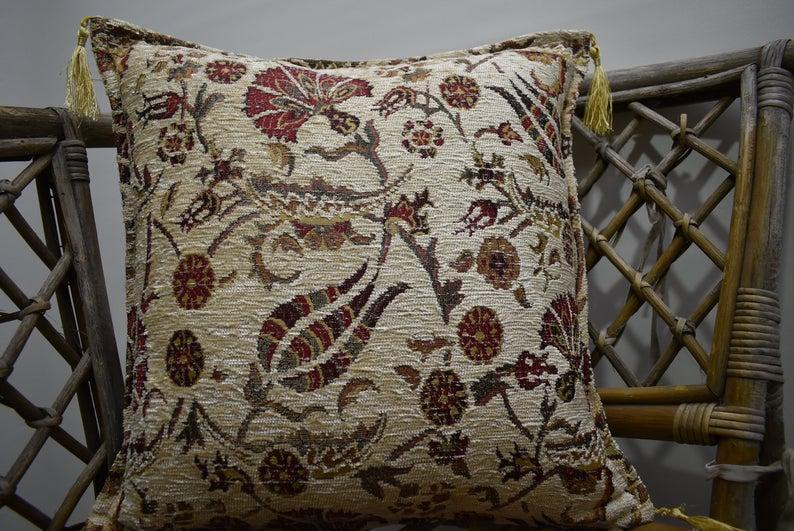 Home decor turkish pillow boho pillow turkish pillow cover 17 x 17 inch decorative pillow cover floral pillow bohemian pillow throw pillow