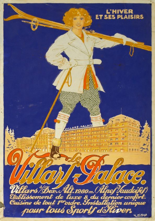 1925 Le Villars-Palace Hotel, Winter and its pleasures, Switzerland vintage travel poster
