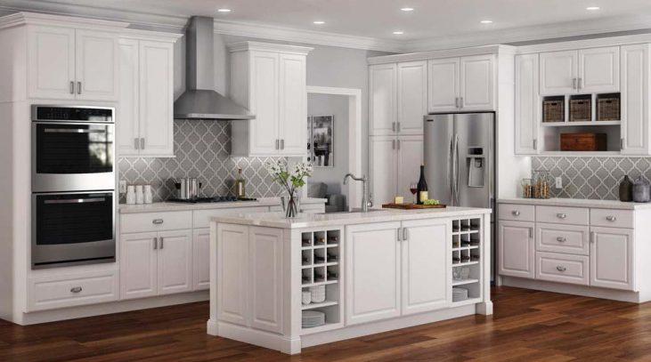 White Painted Kitchen Pantry Cabinets Marble Countertops Island Tiled Grey Backsplash Range Hood Kitchen Cabinets Home Depot Kitchen Remodel Home Depot Kitchen