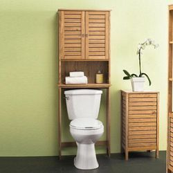 oak finish over the toilet space saver bathroom cabinet