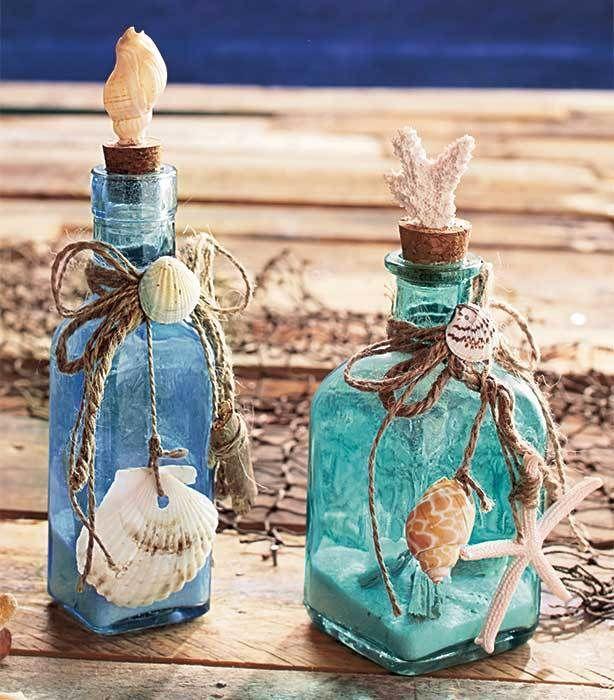 Set Of 2 Glass Bottles Seashells Seaside Home Ocean Beach