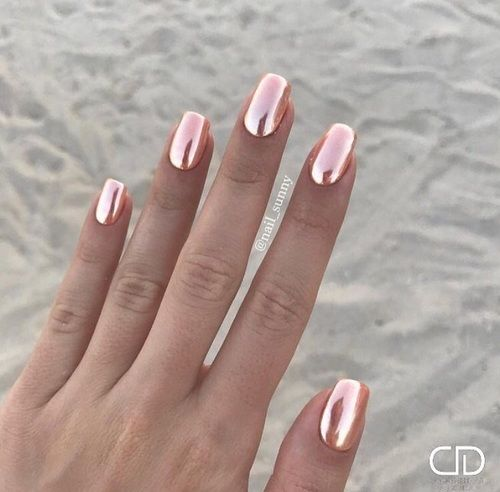 chrome nail art designs rose gold ideas for winter and DIY ...