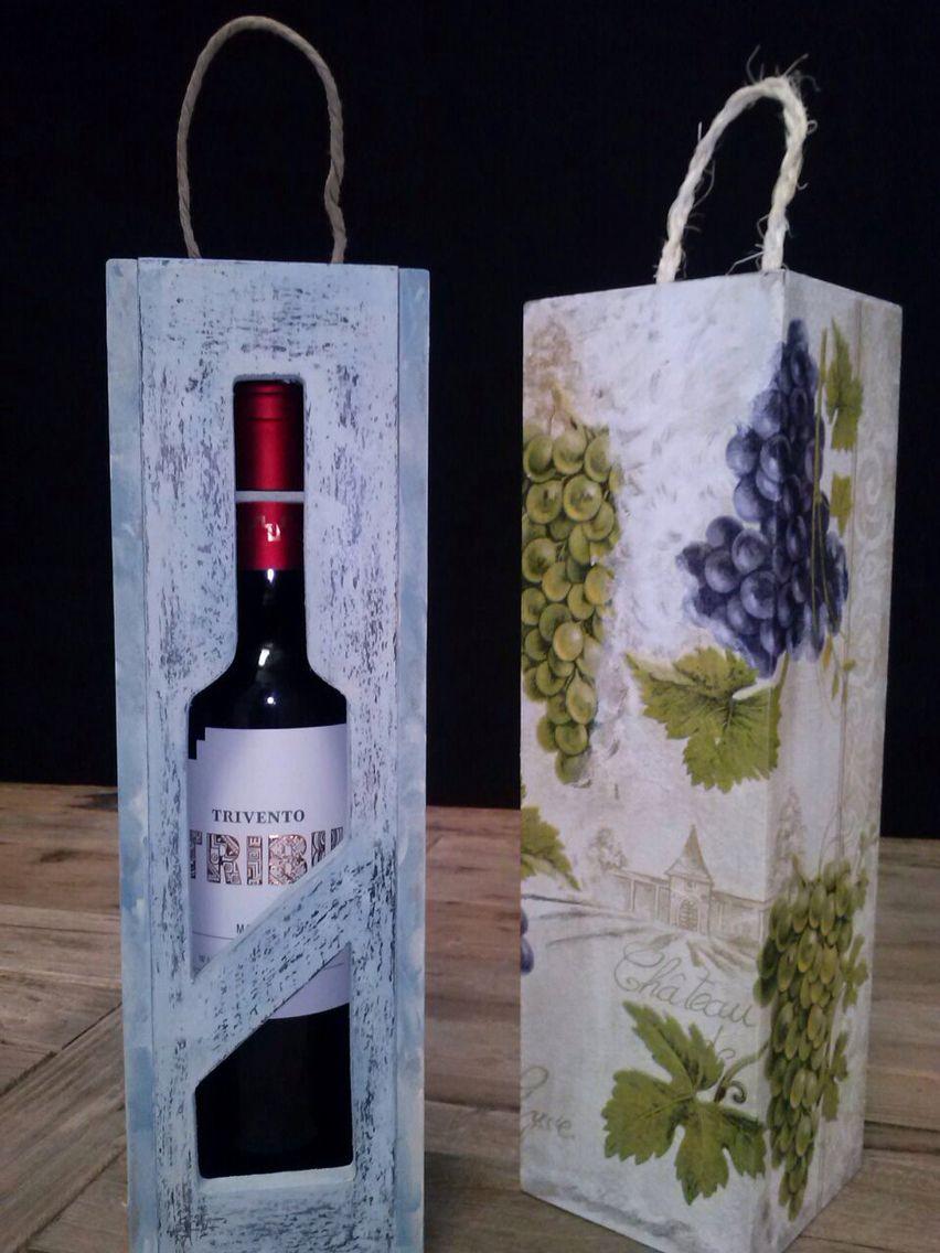 caja de madera porta botella estilo vintage