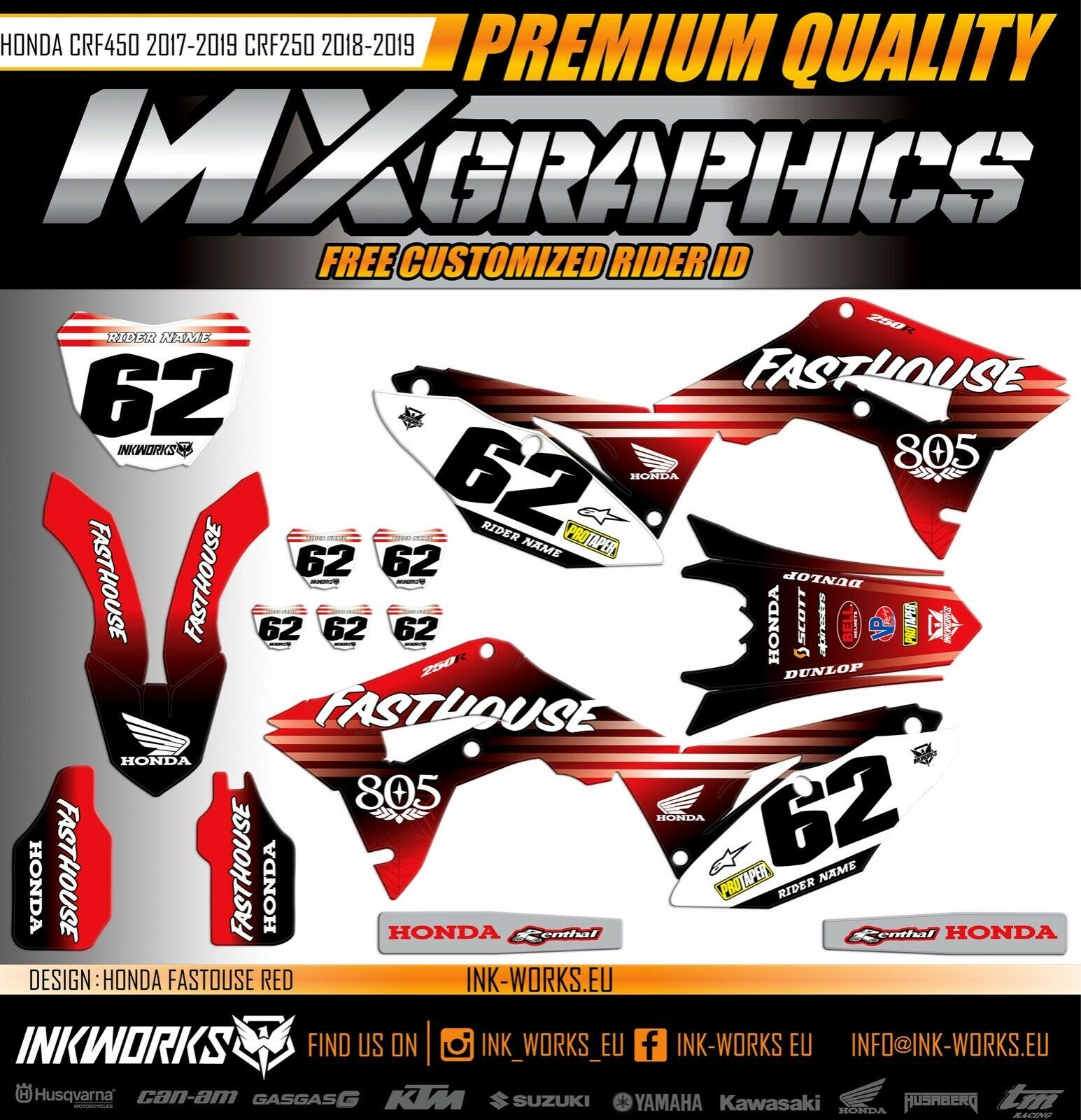 Pin by FMTL on Honda CRF250 accessories | Decals, Stickers