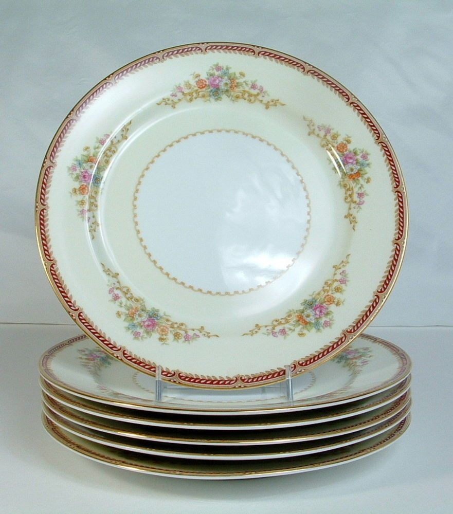 Vintage pink depression glass round platter 12 quot ribbed platter - Noritake Occupied Japan Red Border Floral Sprays Gold Rim Dinner Plates Lot Of 6