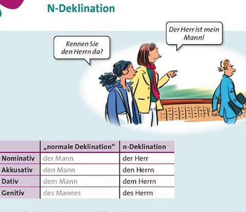 """There is a group of nouns called N-Declination. You have to add """"n"""" or """"en"""" to the noun if you use it in Accusative, Dative or Genitive.  In the next post you will find out which nouns are meant. #lernt_deutsch"""