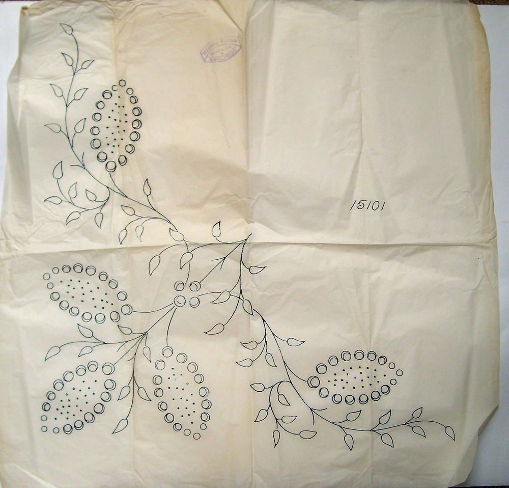 Vintage deighton embroidery transfer seed pod leaf spray large vintage deighton embroidery transfer seed pod leaf spray large panel bankloansurffo Gallery