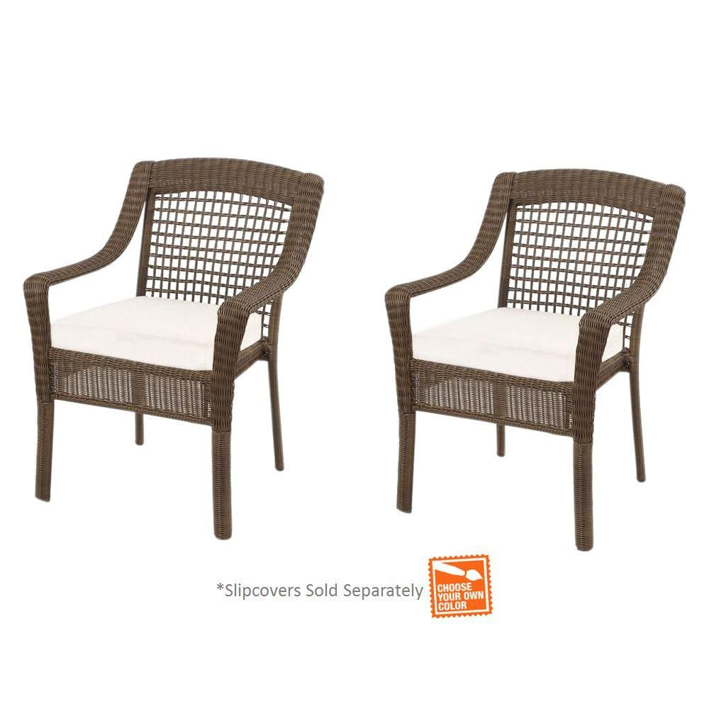 Hampton Bay Spring Haven Grey Wicker Patio Dining Chairs with Cushion Insert  (2-Pack) (Slipcovers Sold Separately) - Hampton Bay Spring Haven Grey Wicker Patio Dining Chairs With