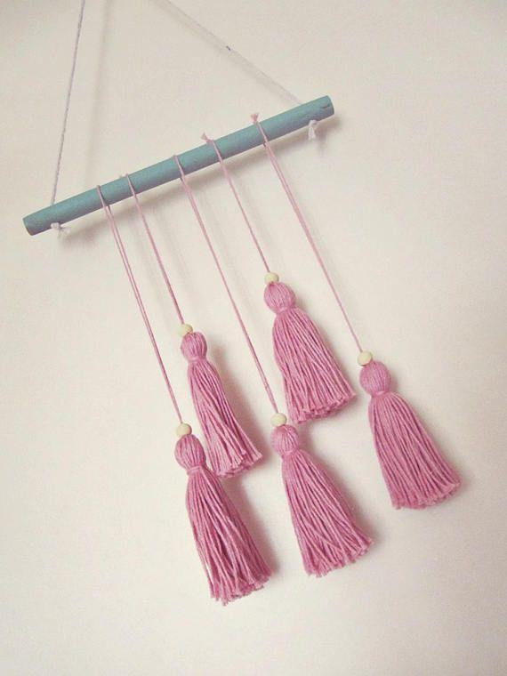 Dusty Pink Nursery Wall Decor - Tassel Wall Hanging - Minimalist ...