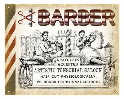BARBER SHOP hair salon VINTAGE SIGN RETRO PLAQUE art 1 - New and Used ...