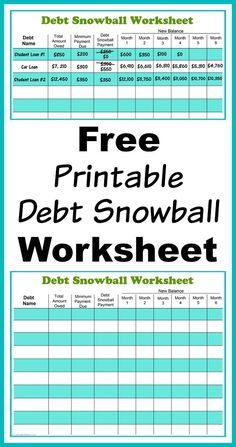 Free Printable Debt Snowball Worksheet- Pay Down Your Debt! | Fiscal ...