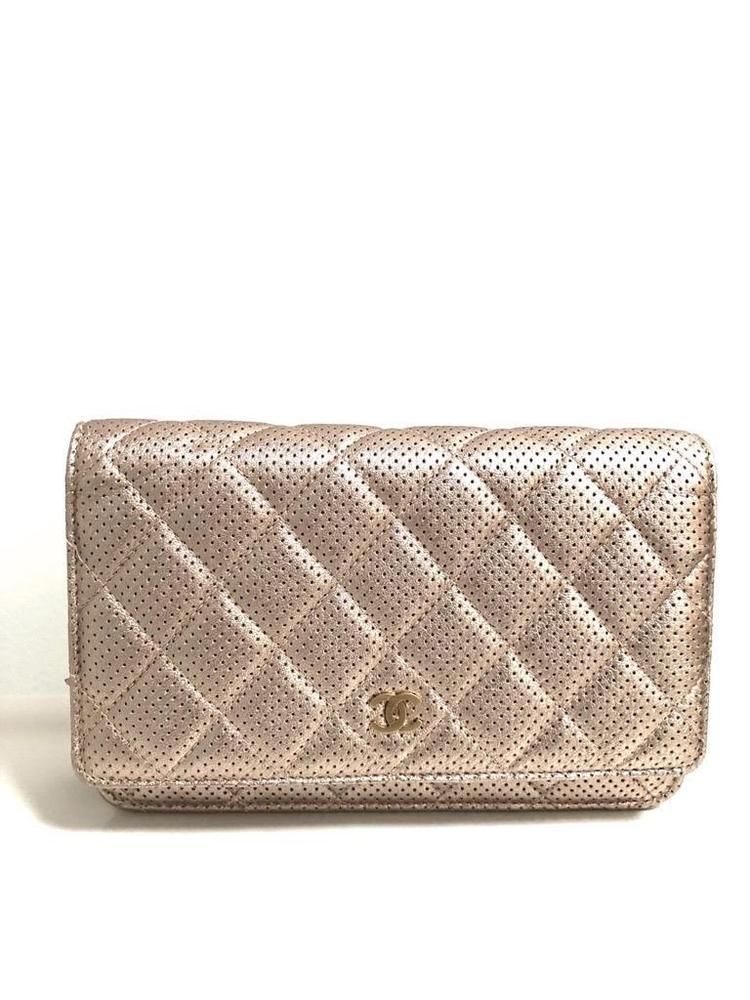 3b8b004ac4d5 Chanel Rose Gold Perforated Quilted Leather Wallet on Chain WOC ...