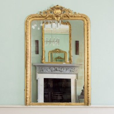 A+nineteenth+century+giltwood+overmantle+mirror,