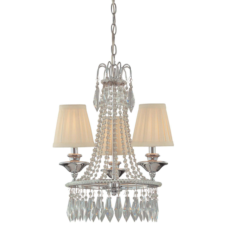Minka lavery three light chrome mini chandelier with cloth shades aloadofball Gallery