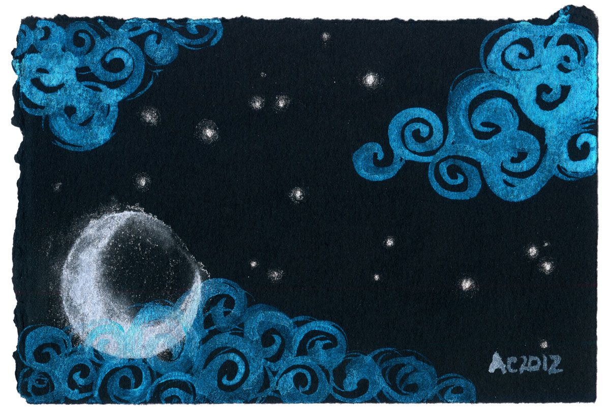 Misty Moon, watercolor by Amy Crook, $250