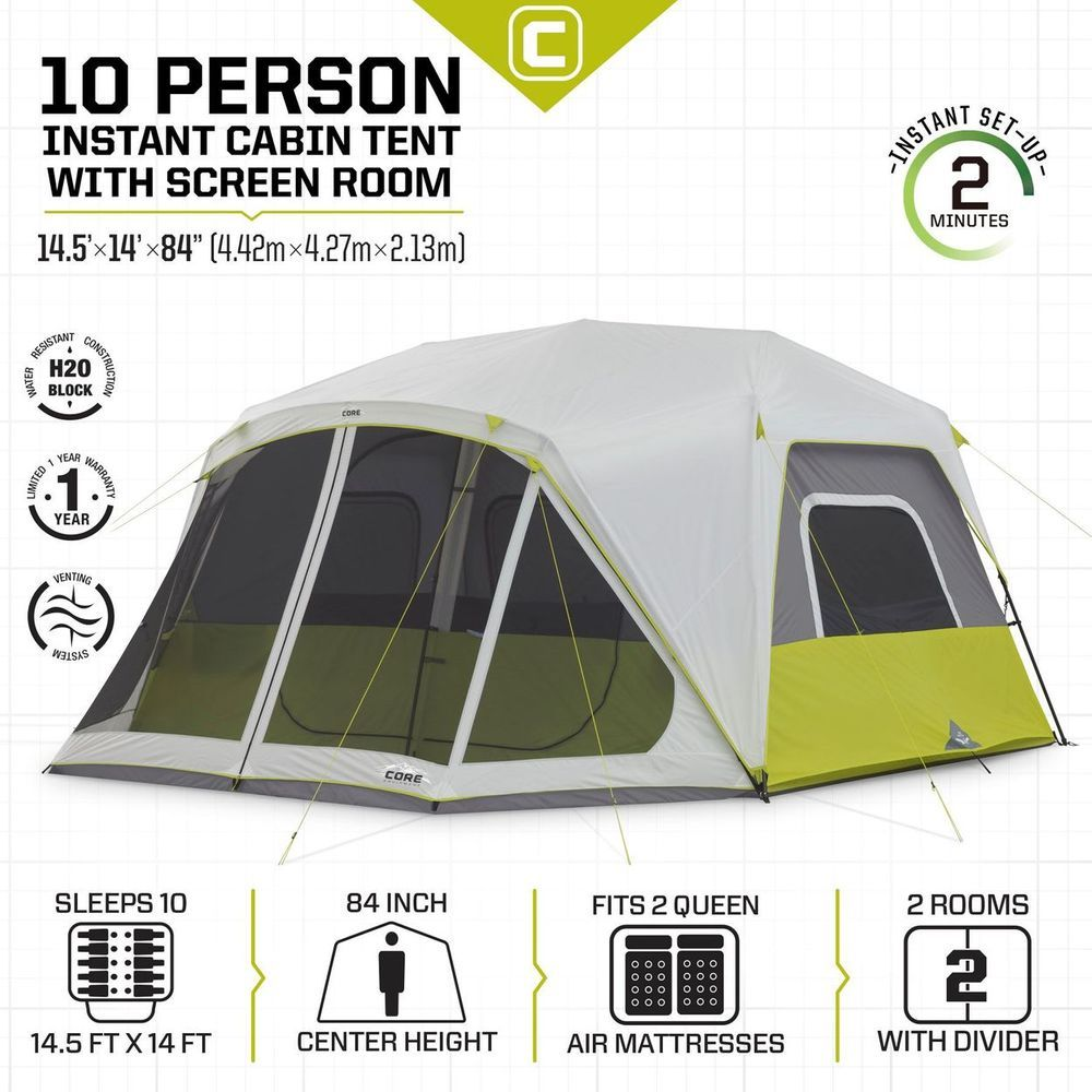 Core 10 Person Instant Cabin Tent With Screen Room Cabin Tent Family Tent Camping Tent