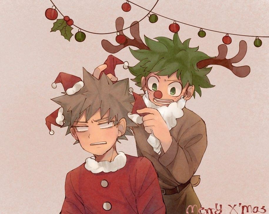 Bakugou Katsuki Midoriya Izuku Anime Christmas Anime Drawings Boy Anime Boy
