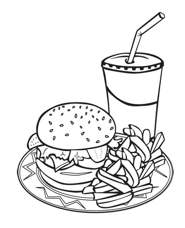 Printable Junk Food Burger And Drink Coloring Page For Kids