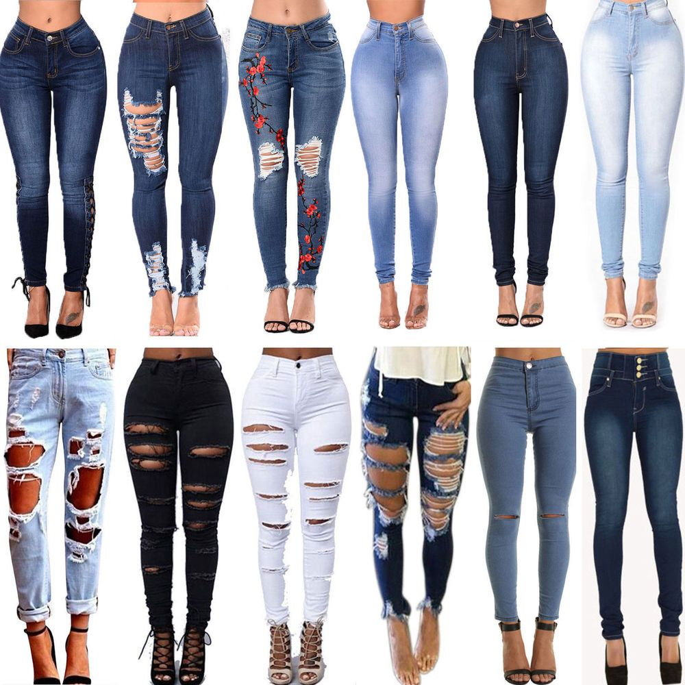 Details about womens ripped frayed high waist denim jeans