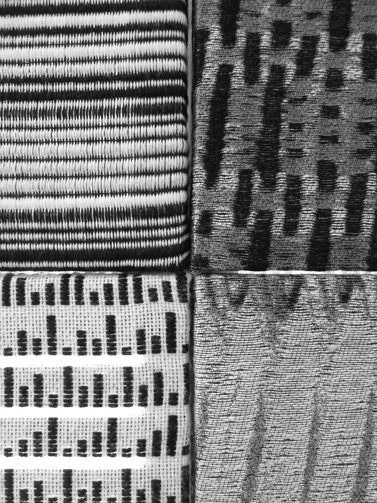Modern monochrome weaving with graphic patterns; woven textiles ...