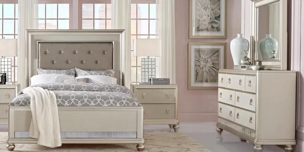 Sofia Vergara Paris Silver 5 Pc King Bedroom King Size Bedroom Sets King Bedroom Sets King Size Bedroom Furniture Sets
