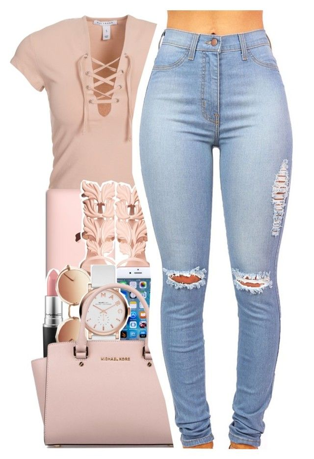 """On my grown woman ish"" by uniquee-beauty ❤ liked on Polyvore featuring NLY Trend, Giuseppe Zanotti, MAC Cosmetics, Linda Farrow, Marc Jacobs and Michael Kors"