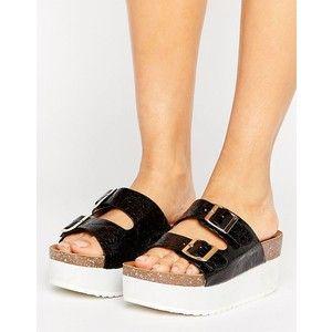 41d781f0c5 RAID Kooper Flatform Slide Black Flat Sandals | Sizzling Shoes
