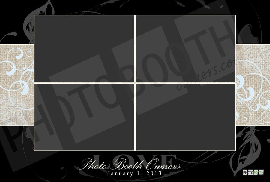 Elegant photo booth template in Black  Champagne, $29 Photo Booth - po booth template