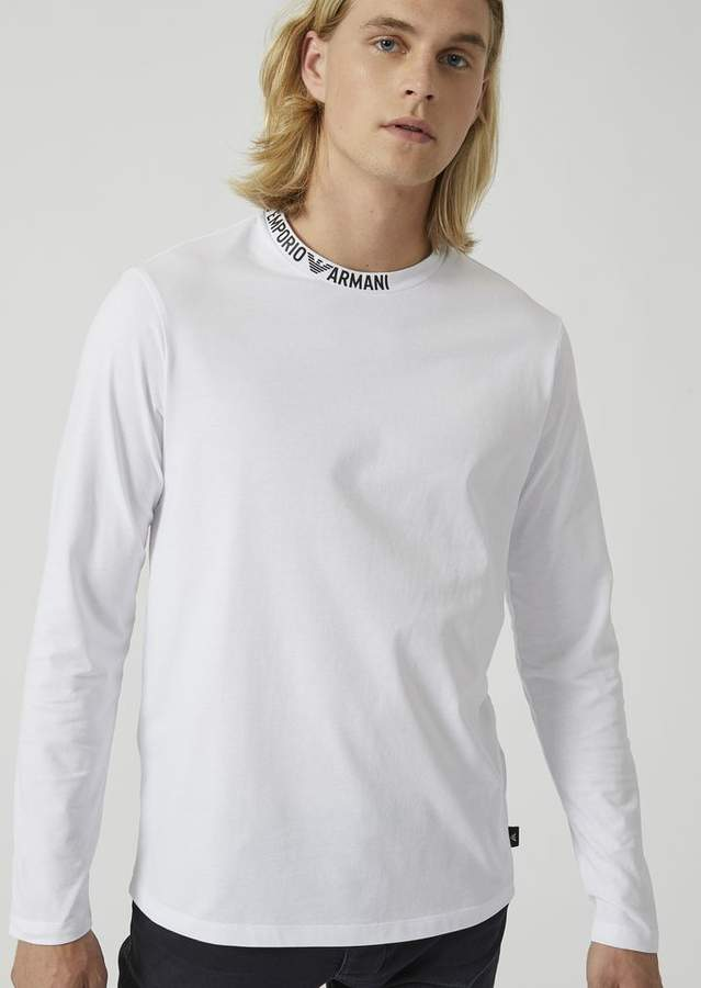 25c56abd14 Emporio Armani Cotton Jersey Top With Logo Lettering On The Collar ...