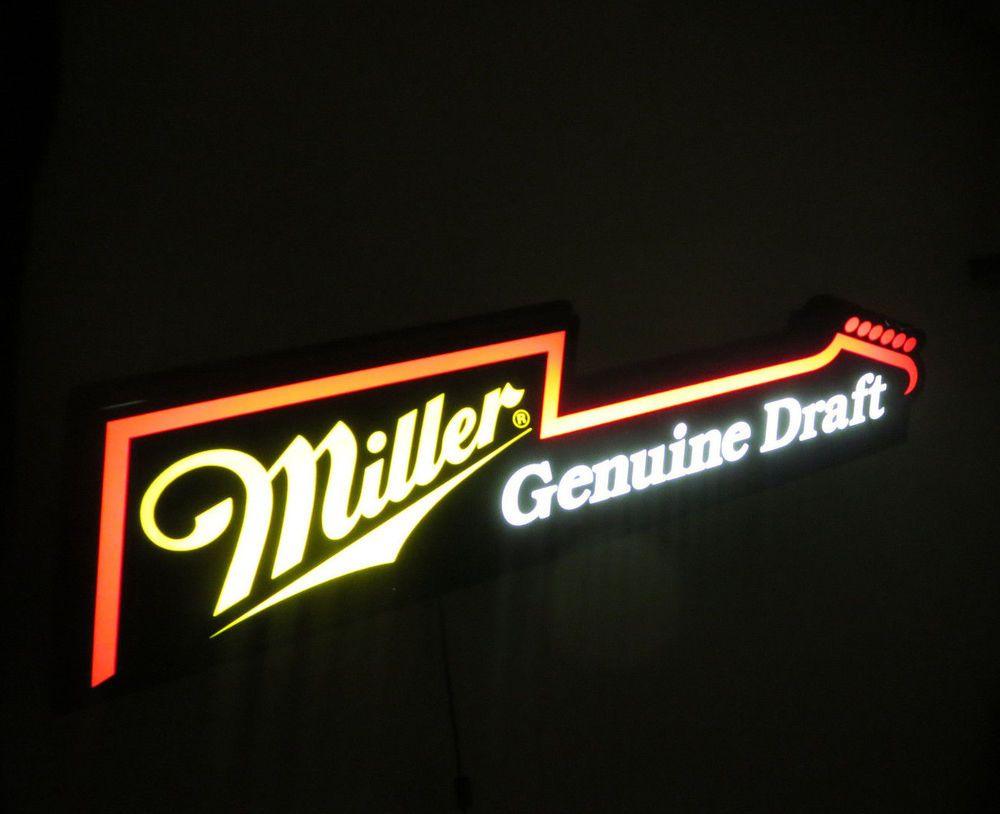 Miller Genuine Draft Mgd Beer Sign Electric Guitar Neo