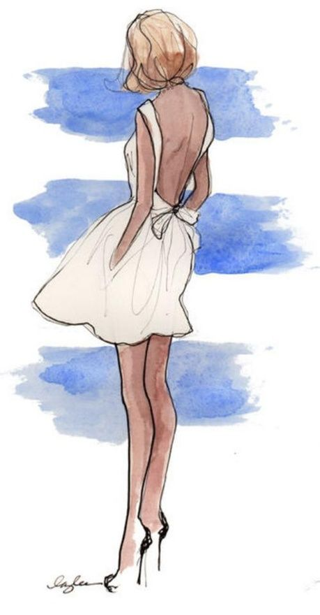 Watercolour of girl in white dress #waterverf