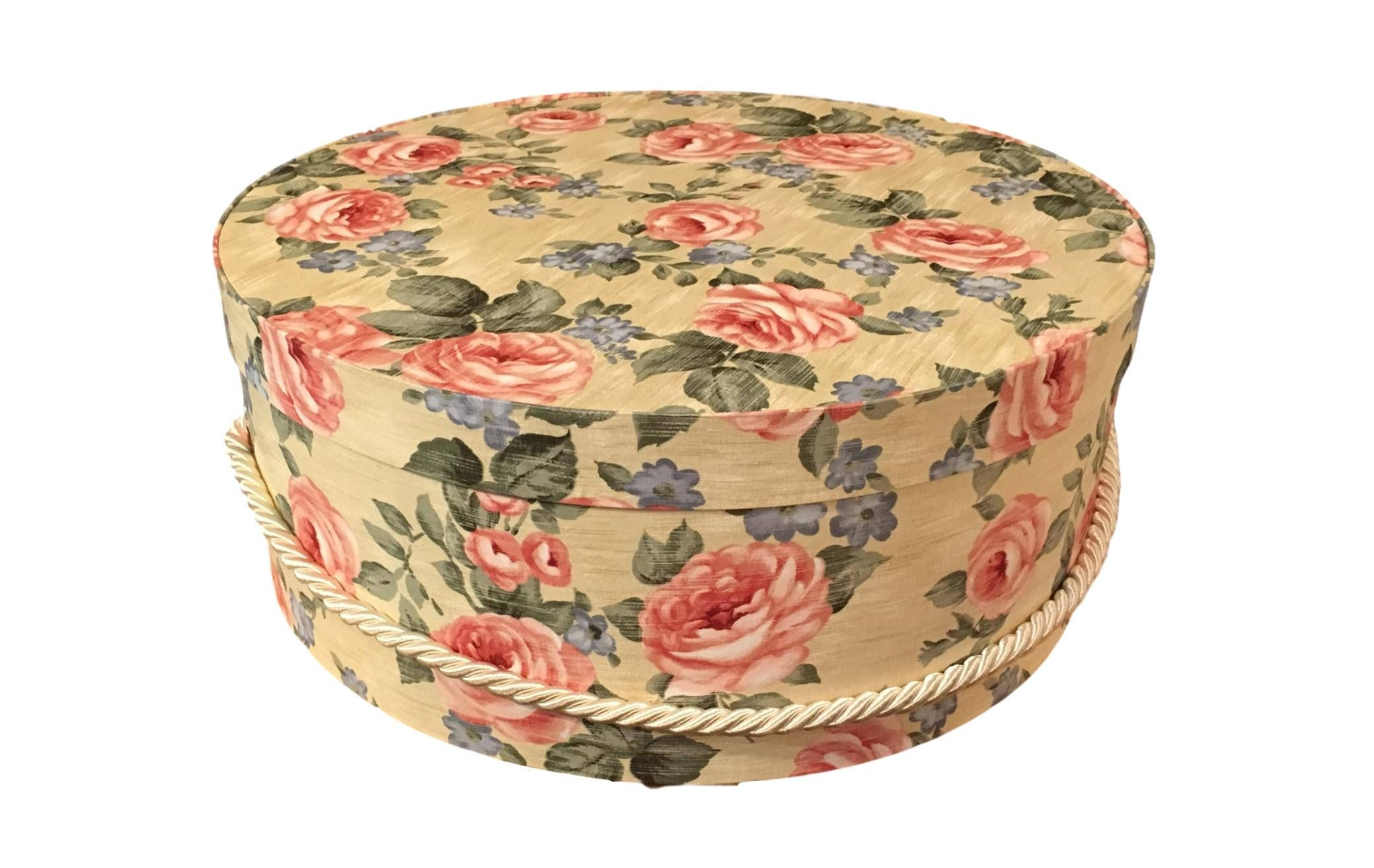 Large Hat Box In Pink Rose Floral Hat Boxes Large Decorative Fabric Covered Boxes Round Storage Box Keepsake Bo Fabric Covered Boxes Hat Boxes Fabric Decor
